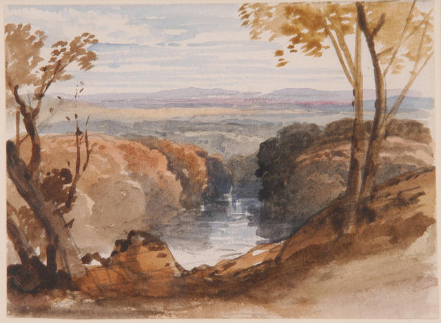 William Leighton Leitch (1804-1883) 'A river running through a wooded valley' 8 x 10.5cm (3 x 4in)
