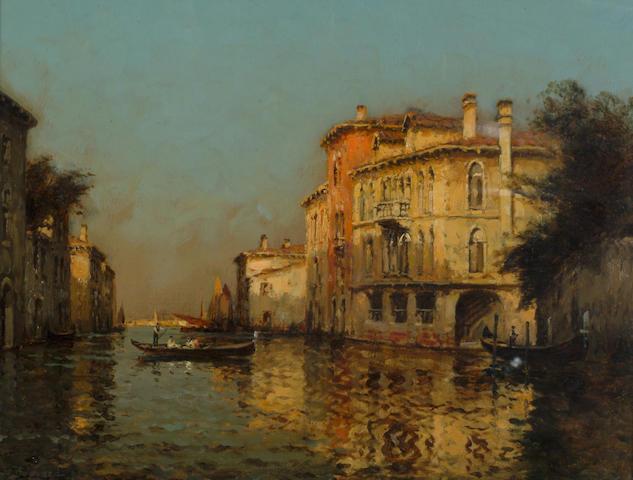 Antoine Bouvard (1870-1956) 'Venetian canal with gondolers' 50 x 65cm (20 x 25 1/2in)