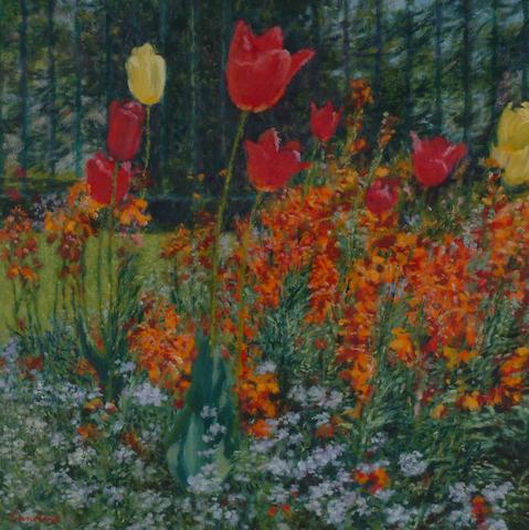 Christopher Sanders (1905-1991) 'Tulips' 43cm (17in) square