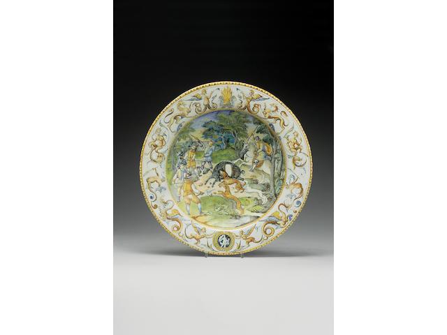 An important Urbino maiolica armorial dish circa 1579