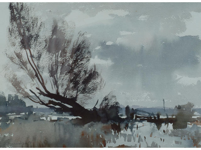 Edward Seago (1910-1974) 'The flooded marsh' 27 x 37cm (10 1/2 x 14 1/2in)