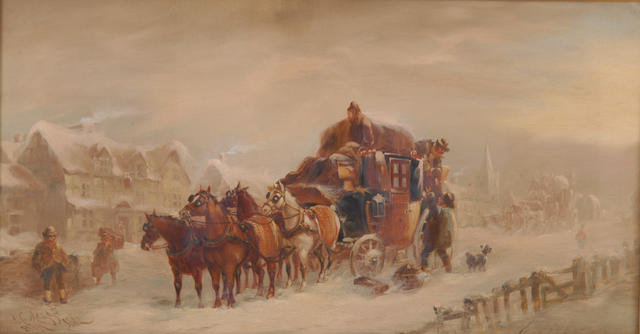 John Charles Maggs (1819-1896) 'Exeter and London coach stopping at the Crown on a winter evening' 34 x 65cm (13 1/2 x 25 1/2in)
