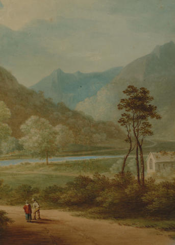 Attributed to John Warwick Smith (1749-1831) 'Figures on a track in North Wales' 32 x 23cm (12 1/2 x9in)