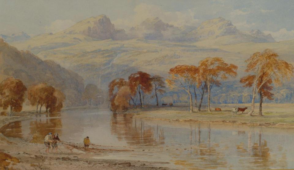 George Arthur Fripp (1813-1896) 'Fishing for salmon under the Three Sisters, Glencoe 29 x 49cm (11 1/2 x 19 1/4in)