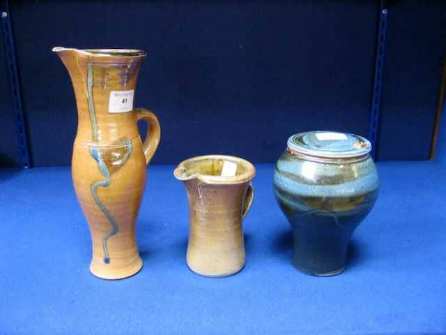 Michael Casson A saltglaze Jug and another Jug and a lidded Pot (3)