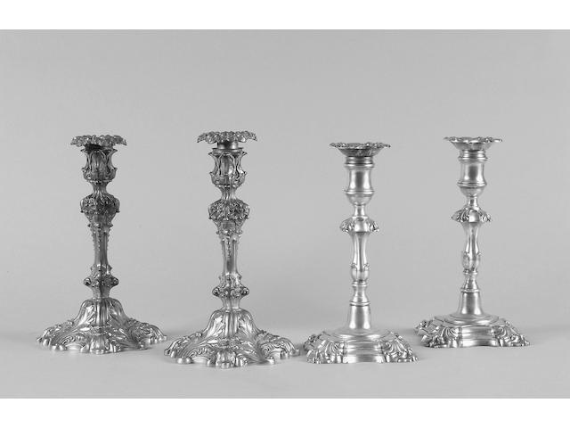 A pair of George III style candelsticks unmarked,