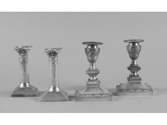 A pair of Victorian desk candlesticks Hawksworth Eyre Ltd, Sheffield 1896,
