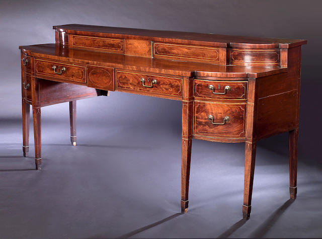 An Edinburgh George III mahogany and boxwood lined breakfront Sideboard,