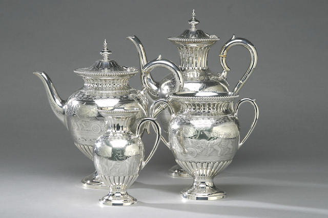 A nineteenth Century four piece tea and coffee service, by Roberts and Belk, numbered 597,