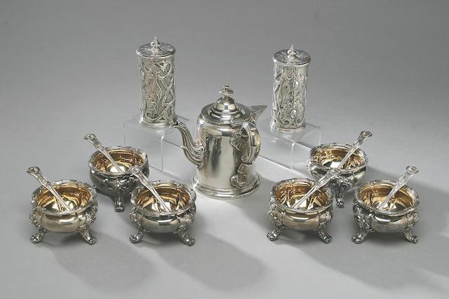 A set of six Victorian salts, by John Samuel Hunt, London 1855,