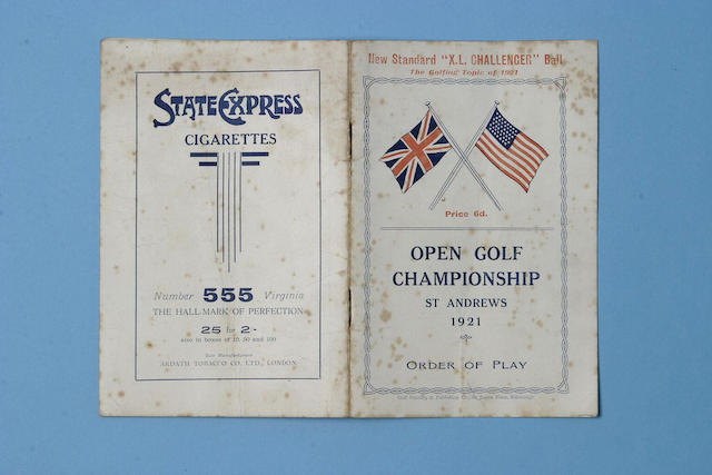 A 1921 Open Golf Championship Order of Play,