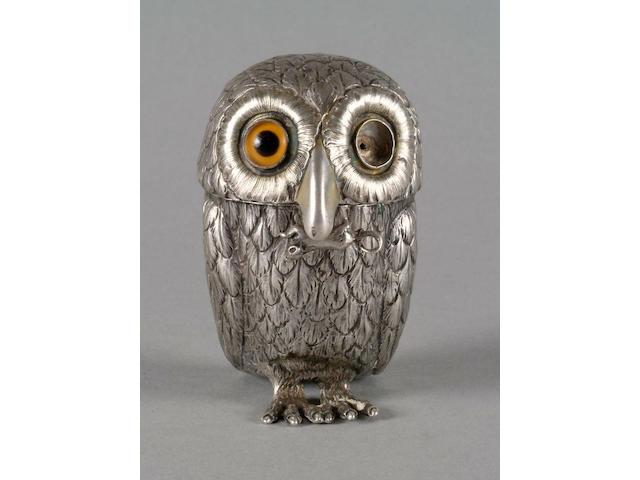 A Victorian owl mustard pot Joseph Angell, 1851,