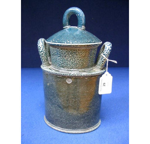Walter Keeler a blue saltglaze lidded Jar Height 10 1/4in. (26cm)