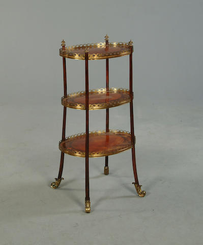 A 19th century kingwood and floral marquetry etagere