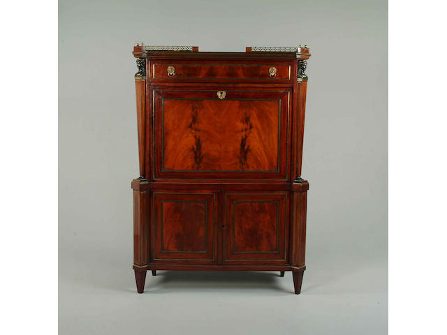 A mid 19th century German mahogany and brass inlaid secretaire a abbatant