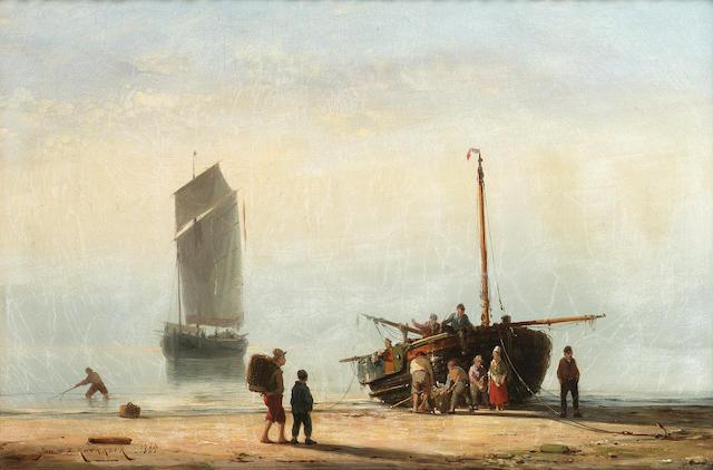Johannes Hermanus Barend Koekkoek (Dutch 1840-1912) Unloading the catch 28.5 x 43.5 cm. (11 1/4 x 17 1/4 in.)