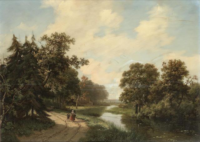Marinus Adrianus Koekkoek (Dutch 1807-1868) Figures on a track in a wooded river landscape 45.5 x 64 cm. (18 x 25 1/4 in.)