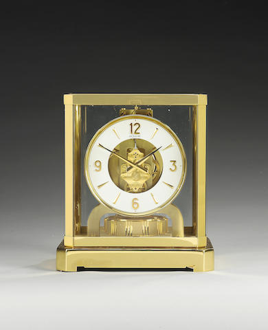 Jaeger-le Coultre. A late 20th century lacquered brass mantel timepiece  Atmos. Cal.528-8 Movement N