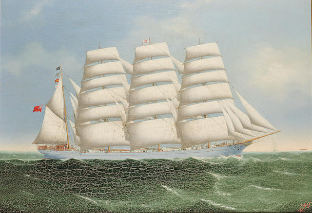 Lai Fong (Chinese, 19th. Century)  The four-masted barque 'Achnashie' 61 x 89cm. (24 x 35in.)