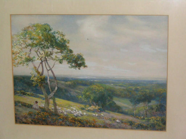 Alexander Young 'View from Harrow Hill, Middlesex', 26 x 35.5cm.