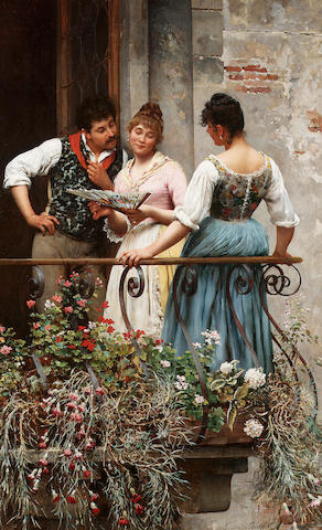 Eugene de Blaas - A Favourite Fan, oil on canvas