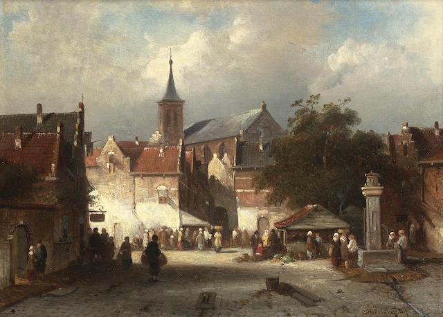 Charles Henri Joseph Leickert (Dutch 1816-1907) A busy market in a continental town 21 x 28.5 cm. (8 1/4 x 11 1/4 in.)