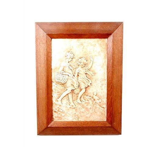 Sophia Rosamund Praeger (1867-1954) girls on a windy hillside, framed 31 x 20cm