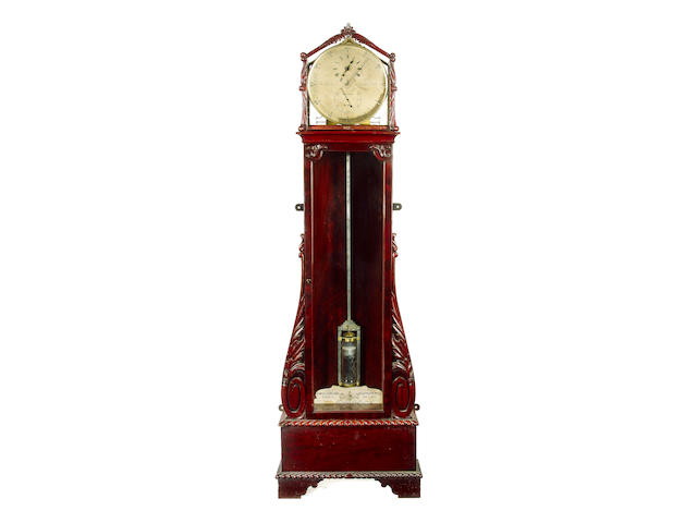 A fine and rare mid 19th century floorstanding mahogany regulator with most unusual spring driven fusee movement, dated 1849 James Gowland, 52 London Wall,