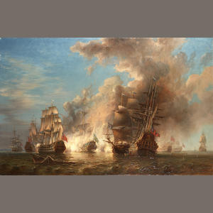 Johann Christian Berger - Engagement Between the British and Swedish Fleets, 28th July 1704, oil on