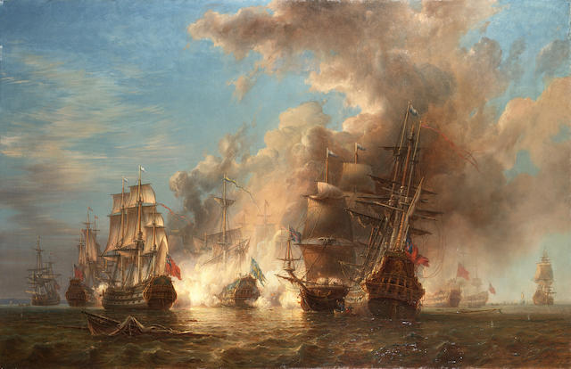 Johann Christian Berger (Swedish, 1803-1871) An Anglo-Swedish skirmish in the Channel in 1704 96.5 x 148.6cm. (38 x 58 1/2in.)
