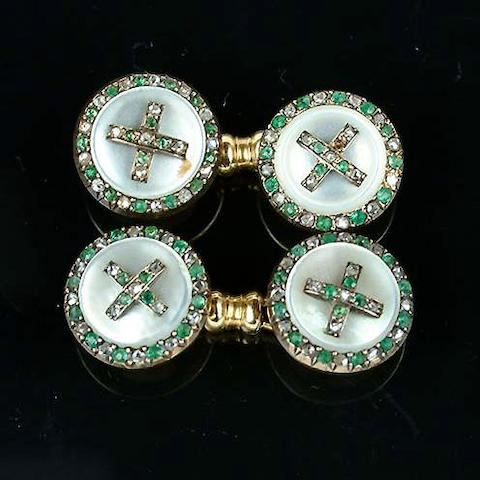 An emerald, diamond and mother-of-pearl dress set, circa 1920,