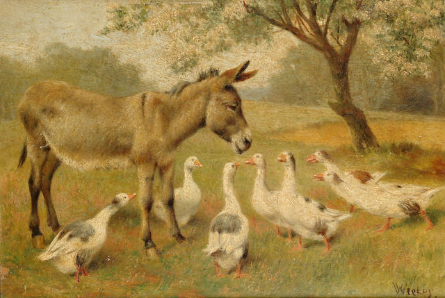 William Weekes (British 1856-1909) Geese and donkeys on a country road; Geese and a donkey under a tree each 8 x 11 5/8 in. (20 x 29.5 cm.) (2)