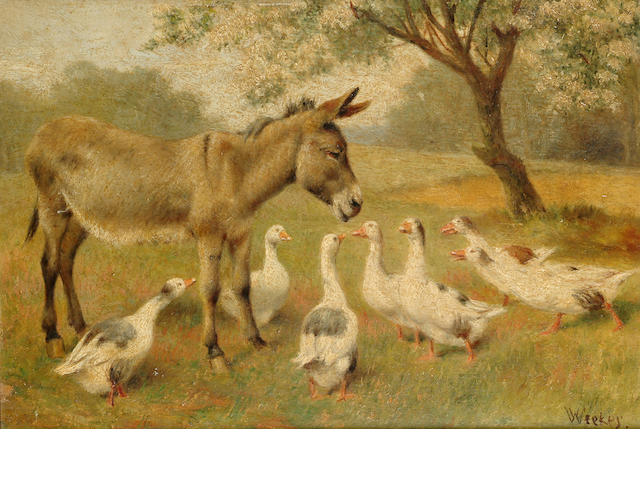 William Weekes (British 1856-1909) Geese and donkeys on a country road; Geese and a donkey under a t