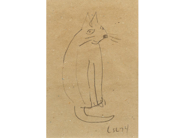 Laurence Stephen Lowry (1887-1976) Cat, 22.5 x 15cm.