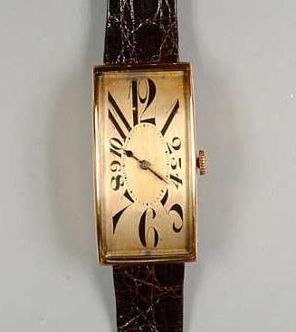A 14ct gold rectangular wristwatch circa 1930