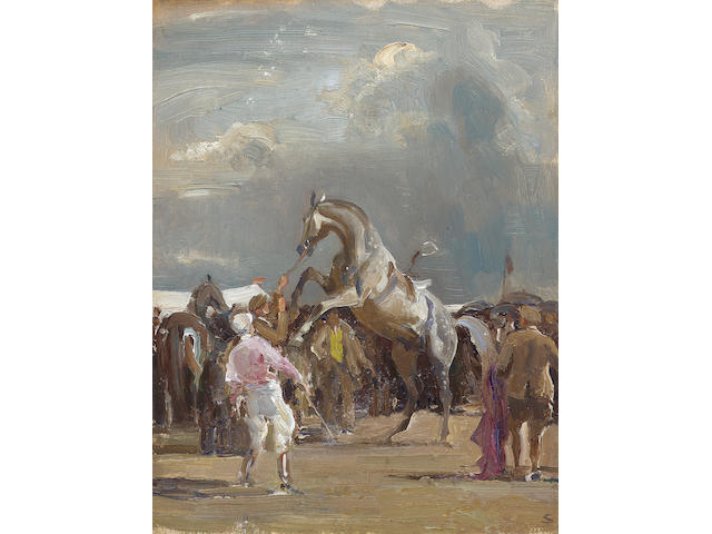 Edward Seago R.W.S. (1910-1974) Saddling the Grey 30 x 22.5 cm. (11 3/4 x 8 3/4 in.)