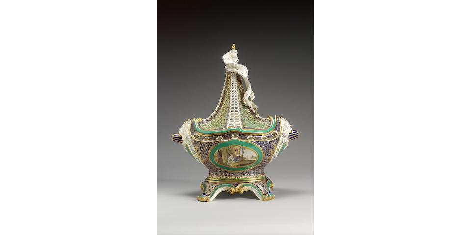 A remarkable Minton 'Vaisseau à mât' ship vase and cover circa 1895