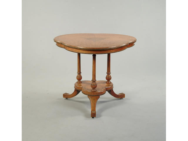 Maple/brass inlaid centre table