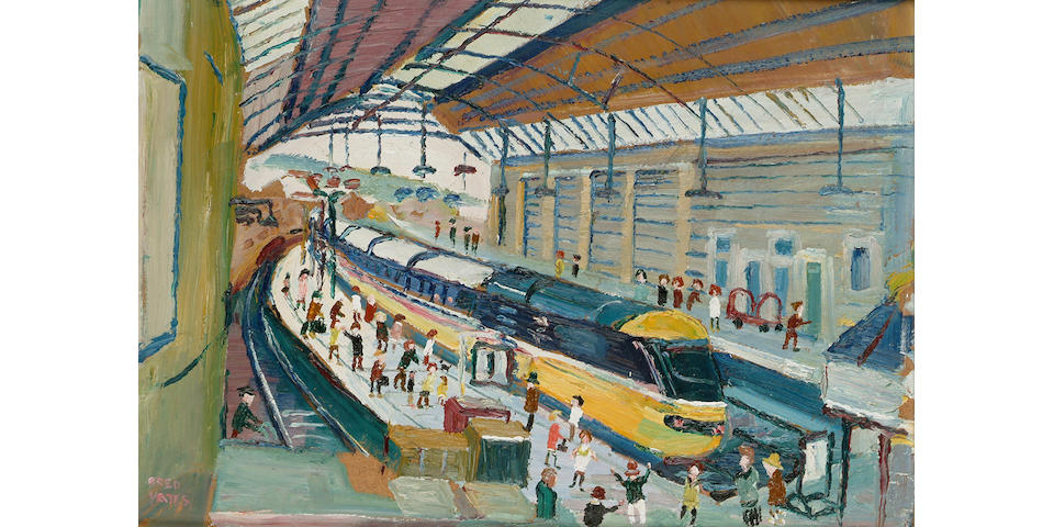 Fred Yates (British, b.1922) Penzance Station 14 x 20 in. (35.5 x 51cm.)
