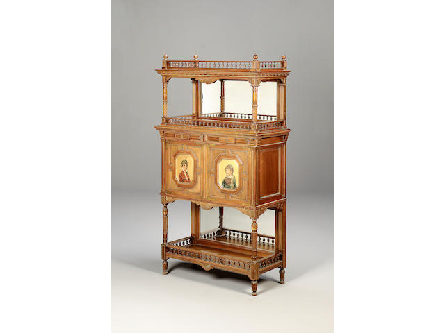 French, circa 1880, A Walnut, Parcel Gilt and Polychrome Decorated Side Cabinet,