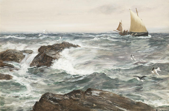Charles Napier Hemy (British, 1841-1917) 'A Lee Shore' 44.4 x 68cm. (17 1/2 x 26 3/4in.)