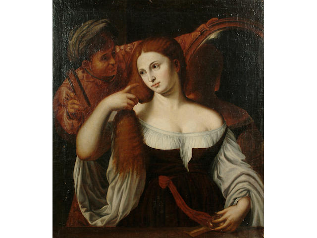 Follower of Tiziano Vecellio, called Titian, late 17th Century A woman at her toilet, 40 x 35¾ in. (101.5 x 91 cm.)