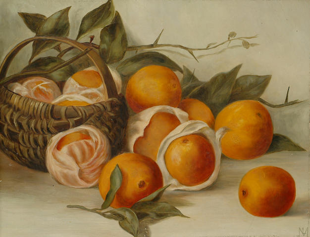 English School, 20th Century Still life of oranges, 13 7/8 x 17 7/8 in. (35.5 x 45.7 cm.)