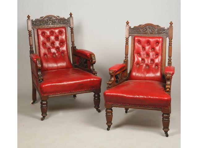 Two Victorian mahogany armchairs,