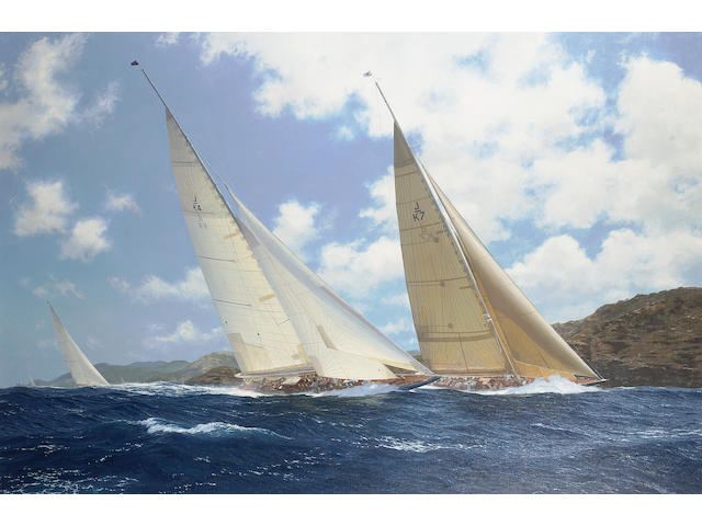 John Steven Dews (British, b.1949) 'Shamrock V' trailing 'Endeavour' and 'Velsheda' in the 1999 Antigua Classic Week Regatta 101.6 x 152.4cm.(40 x 60in.)