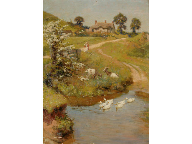 Frederck Hall (British, 1860-1948) A summer`s day, 23 3/4 x 17 1/2in (60.4 x 44.4cm)