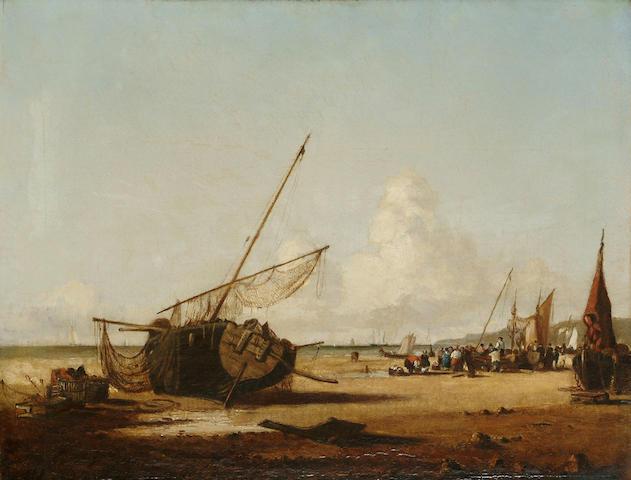 Continental School, 19th Century Fisherfolk on a beach, 13 3/4 x 17 3/4 in. (35 x 45 cm)