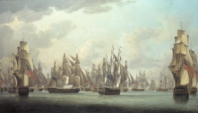 Robert Dodd (British, 1748-1815) Commodore Dance's celebrated action against a French squadron in the Straits of Malacca on 15th. February 1804 83.8 x 144.7cm. (33 x 57in.)