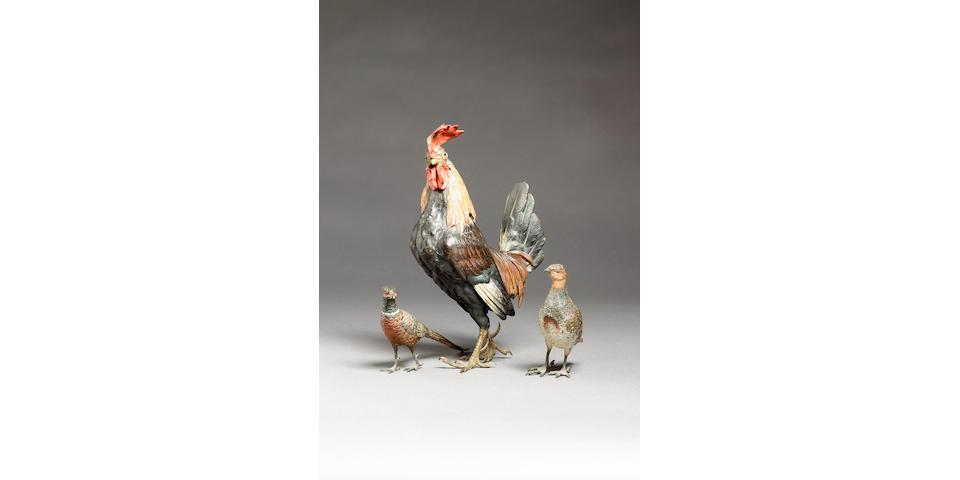 Franz Bergman (Austrian, fl. early 20th century): A cold painted bronze model of a Well Summer cockerel