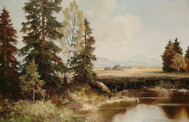 Ludwig Fahl An extensive landscape, 23 1/2 x 35 5/8 in.(59.7 x 90.7 cm.)